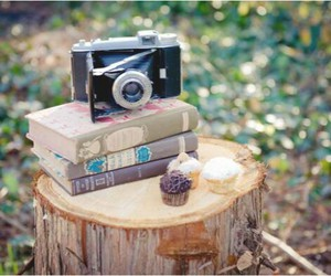 books, camera, and vintage image