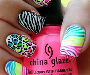 nails, nail art, and zebra image