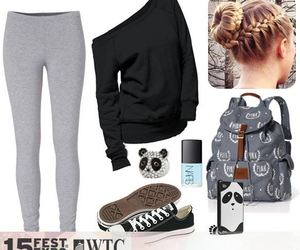 black, gray, and outfit image