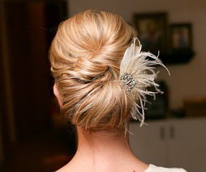 feather, formal hair, and twist image