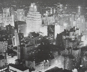 black and white, city, and lights image