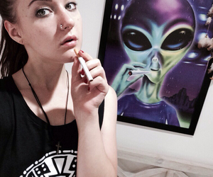 allien, awesome, and cigarette image