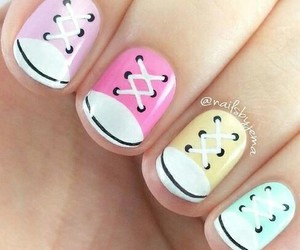 nails, nail art, and shoes image