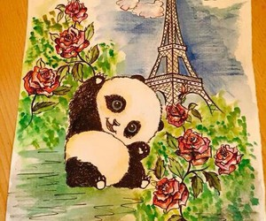 drawing, panda, and paris image