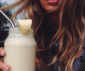 drink, hair, and smoothie image