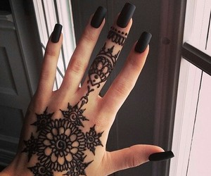 black nails, hand, and tattoo image
