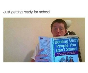 school, funny, and book image