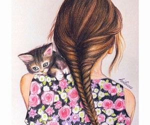 cat, drawing, and flowers image