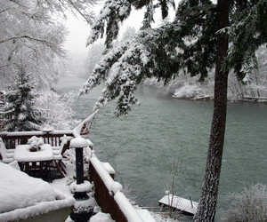 pretty, river, and snow image