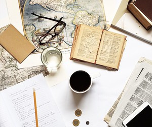 book, coffee, and map image