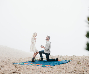 couple, fog, and proposal image
