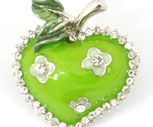 apple, fruit, and brooch image
