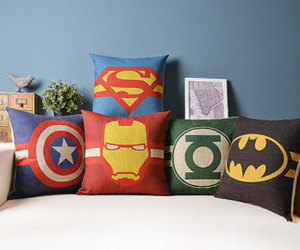 batman, captain america, and cushion image