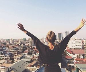 girl, city, and free image