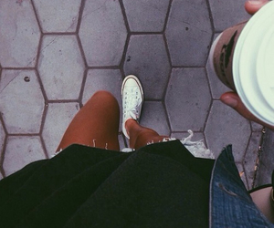 fashion, coffee, and converse image