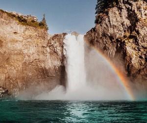 rainbow, waterfall, and nature image