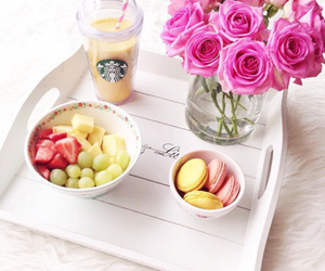 fruit, starbucks, and flowers image