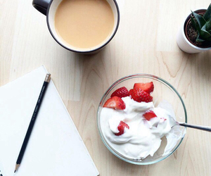 strawberry, breakfast, and coffee image