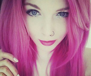 hair, piercing, and pink image