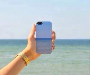 sea, iphone, and beach image