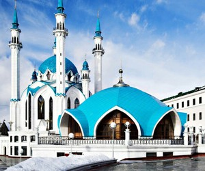 blue, islam, and masjid image