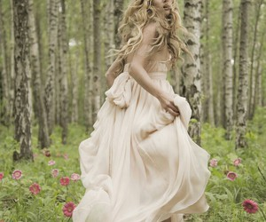 girl, dress, and forest image
