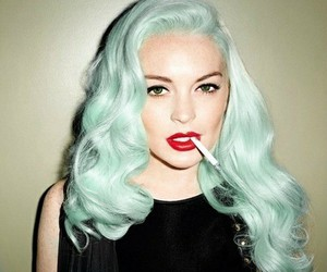 green hair, red lips, and sigarets image