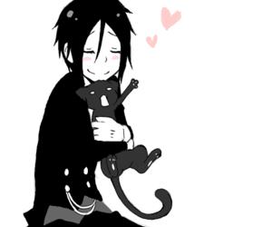 kuroshitsuji, cat, and sebastian image