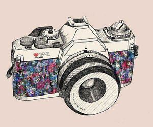 camera, flowers, and drawing image