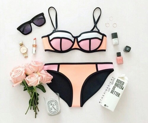 bikini, rings, and black image