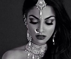 indian, black and white, and india image