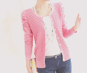 fashion, cardigan, and pink image