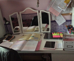 ahead, desk, and exam image