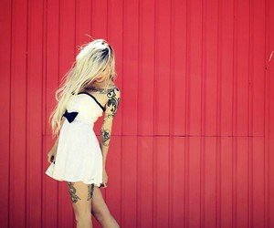 bad girl, blonde, and tattoo image