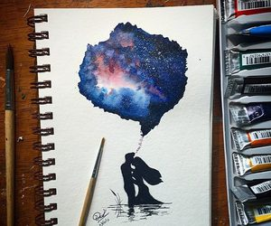 drawing, art, and couple image