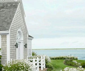 house, flowers, and beach image