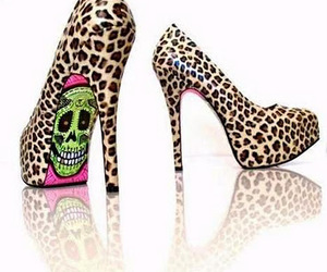 shoes, heels, and skull image