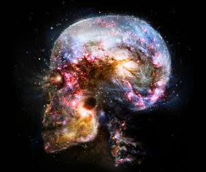 skull, galaxy, and universe image
