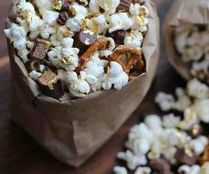 food, popcorn, and chocolate image