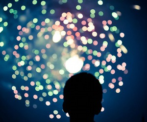 boy, fireworks, and colours image