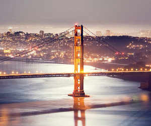 city, golden gate, and light image