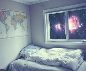 bed, bedroom, and stars image