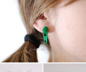 beauty, earring, and zipper image