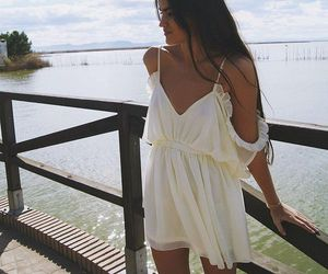 style, white dress, and off shoulder dress image