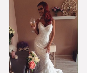 bride, flowers, and weddingdress image