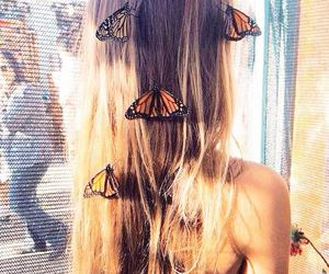 butterflies, girl, and hair image