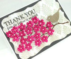 handmade card, pink flowers, and thank you image