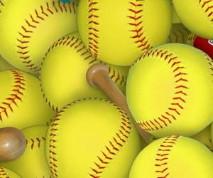 ball, bat, and softball image