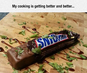 food, snickers, and cooking skills image