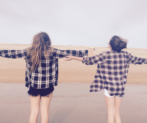 beach, best friends, and flannel image